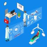 虚拟现实Concept 3d医生等轴测图 向量 向量例证