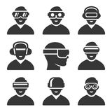 虚拟现实VR被设置的耳机象 向量 库存例证
