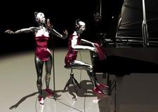虚拟钢琴演奏家的歌唱家 库存图片
