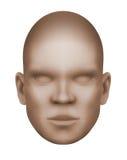 虚构的人面,在白色背景的被隔绝的三维单色图象 免版税库存照片