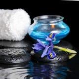 虹膜花,蓝色蜡烛,白色毛巾a的美好的温泉概念 免版税图库摄影