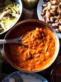 虾一个传统希腊起始者烹调了与蕃茄chee 库存照片