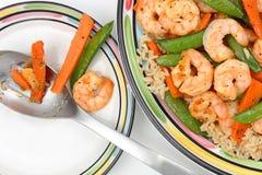 虾和菜晚餐 库存图片