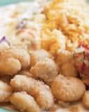 虾和蔬菜餐 库存图片