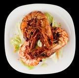 虾和莴苣开胃菜 免版税库存图片