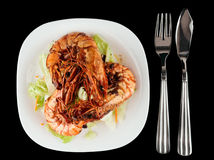 虾和莴苣开胃菜 库存图片