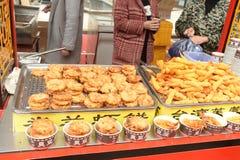 虾在小麦面粉/虾饺子油煎了 免版税图库摄影