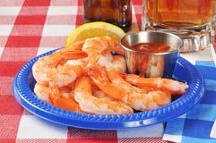 虾大虾和开胃用沙司 图库摄影