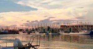 虾小船渔船队 库存照片