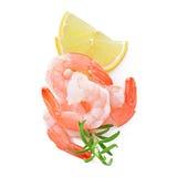 虾尾巴用新鲜的柠檬 免版税图库摄影