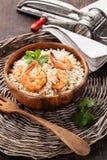 虾意大利煨饭 免版税库存图片