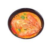 虾汤有白色背景 免版税图库摄影
