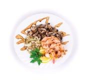 虾沙拉用蘑菇 库存图片