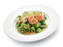 虾油煎的圆白菜 泰国的食物 免版税库存照片