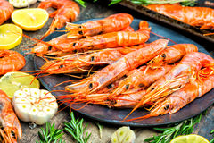虾海鲜用柠檬迷迭香和大蒜 免版税库存图片
