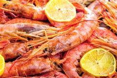 虾海鲜用柠檬迷迭香和大蒜 图库摄影