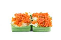 虾混合用在黏米饭点心的椰子 免版税库存图片