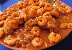 虾炖煮的食物 免版税图库摄影