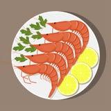 虾用柠檬和草本在白色板材,顶视图 海鲜 在平的样式的传染媒介例证 库存照片