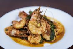 虾用红色咖喱,泰国食物,特写镜头 库存照片