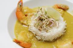 虾用调味汁、白米和石灰 免版税库存图片