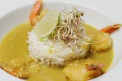 虾用调味汁、白米和石灰 库存照片
