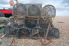 虾笼和小船 图库摄影