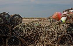 虾笼和绳索的研究 免版税库存照片