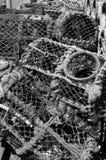 虾笼在Conwy 免版税库存图片