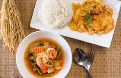 虾酸汤混合了菜由罗望子树浆糊和煎蛋卷,煮熟的米,可口典型的泰国食物样式制成 免版税图库摄影