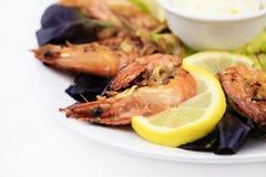 虾,海鲜背景 免版税库存图片