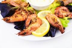 虾,海鲜背景 图库摄影