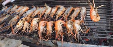 虾BBQ格栅食物菜单 免版税库存照片