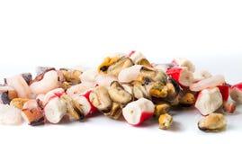 虾surimi淡菜和章鱼的冻结的海鲜混合 免版税库存图片