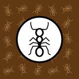 蚂蚁象标志和标志在棕色背景 免版税库存图片