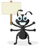 蚂蚁黑色逗人喜爱的小的符号木头 库存照片