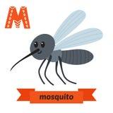 蚊子 Alphabet.m letter.mushroom月亮老鼠魔术猴子 逗人喜爱的在传染媒介的儿童动物字母表 乐趣 图库摄影