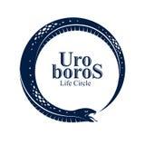蛇吃它自己的传说的,在圈子形状的Uroboros蛇的不尽的周期生与死,Ouroboros古老标志传染媒介 向量例证