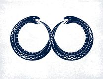 蛇吃它自己的传说的,在无限标志形状的Uroboros蛇的不尽的周期生与死,Ouroboros古老标志 向量例证