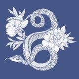 蛇和花 免版税库存图片