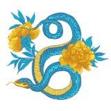 蛇和花 库存图片