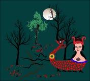 蛇妇女的神话图象,也是市的标志马尔丁 向量例证