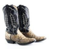 蛇皮革牛仔靴 图库摄影