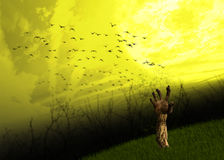 蛇神手放牧万圣夜背景 免版税库存图片