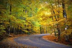 蛇路,秋天颜色,向右转 免版税库存图片