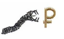 蛇攻击卢布标志 太昂贵的修理 免版税库存照片