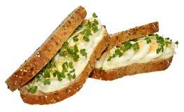 蛋和水芹三明治 库存照片