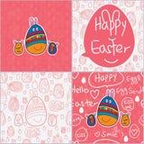 蛋复活节逗人喜爱的卡片无缝的样式 免版税库存图片