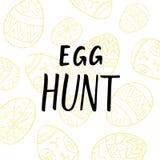 蛋狩猎与被绘的蛋线艺术和现代书法的明信片设计 库存照片