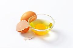 蛋白和卵黄质在玻璃碗 库存照片